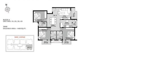 BBCL Ashraya, Thoraipakkam - 3BHK - Block A - 1D, 2D, 3D, 4D