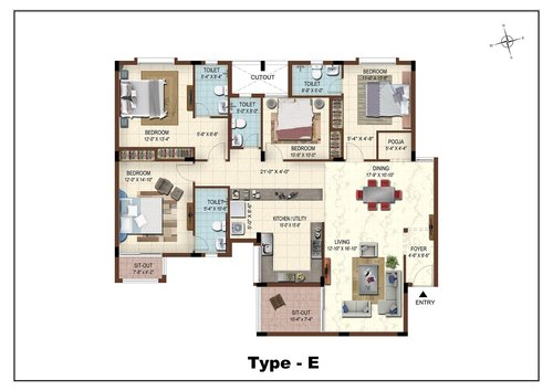 Casa Grande The Address, Karapakkam, OMR - 3BHK - Type E