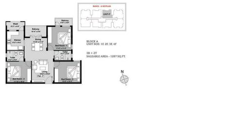 BBCL Ashraya, Thoraipakkam - 3BHK - Block A - 1F, 2F, 3F, 4F