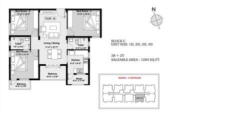 BBCL Ashraya, Thoraipakkam - 3BHK - Block C - 1D, 2D, 3D, 4D