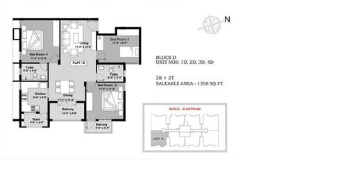 BBCL Ashraya, Thoraipakkam - 3BHK - Block D - 1D, 2D, 3D, 4D