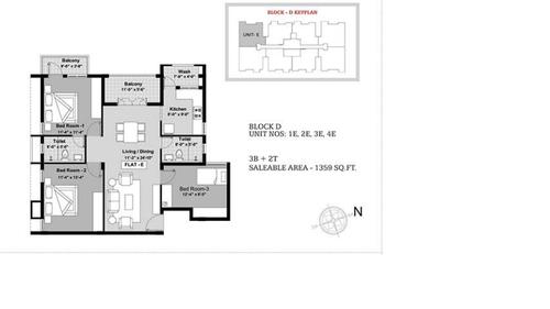 BBCL Ashraya, Thoraipakkam - 3BHK - Block D - 1E, 2E, 3E, 4E
