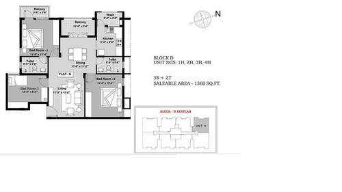 BBCL Ashraya, Thoraipakkam - 3BHK - Block D - 1H, 2H, 3H, 4H