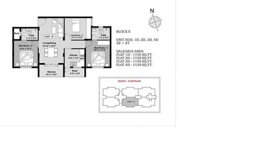 BBCL Ashraya, Thoraipakkam - 3BHK - Block E - 1D, 2D, 3D, 4D