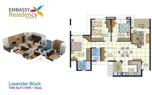 Embassy   Residency, Perumbakkam - 3BHK - 3 BHK +  Study