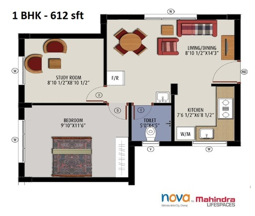 Mahindra LifeSpaces Nova, Mahindra city - 1BHK - 1.5 BHK