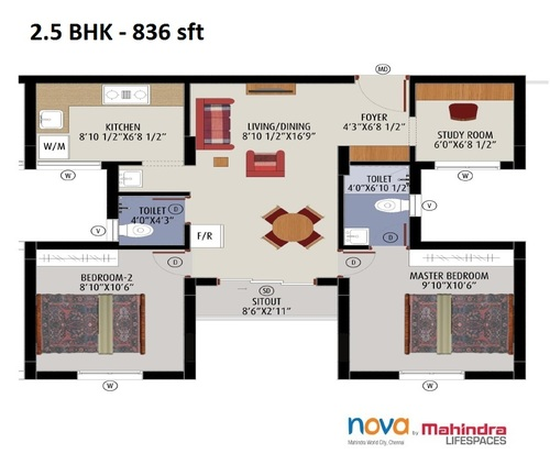 Mahindra LifeSpaces Nova, Mahindra city - 2BHK - 2.5 BHK