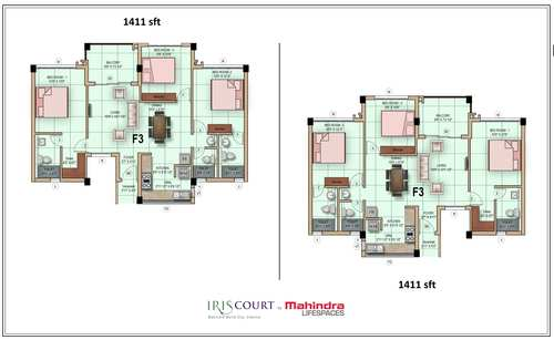 Mahindra LifeSpaces Iris Court, Mahindra city - 3BHK - 3 BHK 1411 Sq ft