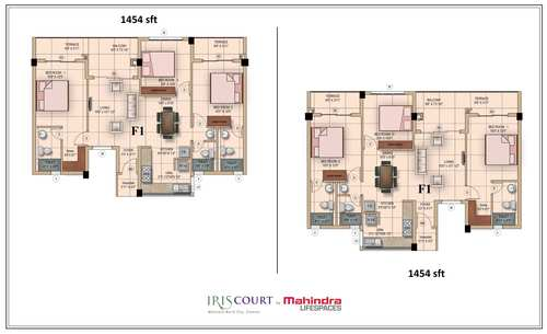 Mahindra LifeSpaces Iris Court, Mahindra city - 3BHK - 3 BHK 1454 Sq ft